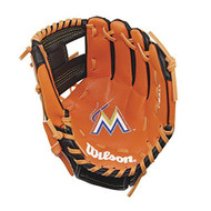 "Wilson A200 10"" Miami Marlins MLB Baseball Tee Ball Youth Glove - Right Hand Throw"