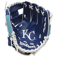 "Wilson A200 10"" Kansas City Royals MLB Baseball Tee Ball Youth Glove - Right Hand Throw"