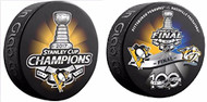 2017 STANLEY CUP FINAL DUELING TEAM PUCK & PENGUINS CHAMPIONS PUCK SET OF 2