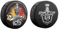 2017 NHL Stanley Cup Playoff Eastern Conference Finals Pittsburgh Penguins vs. Ottawa Senators Dueling Souvenir Puck