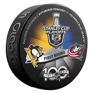2017 NHL Stanley Cup Playoff Round 1 Pittsburgh Penguins vs. Columbus Blue Jackets Dueling Souvenir Puck