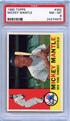 1960 Topps #350 Mickey Mantle Baseball Card PSA 8 Graded