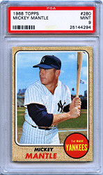 1968 Topps #280 Mickey Mantle Baseball Card PSA 9 Graded