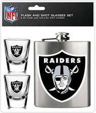 NFL Oakland Raiders Shot Glasses & Brushed Stainless Steel Flask Set