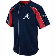 Majestic Athletic MLB Atlanta Braves Double Play Navy Blue Jersey