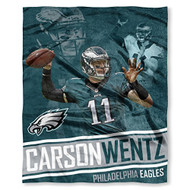 "NFL Carson Wentz Philadelphia Eagles Silk Touch Throw Blanket Size 50"" x 60"""
