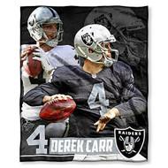 """NFL Derek Carr Oakland Raiders Silk Touch Throw Blanket Size 50"""" x 60"""""""