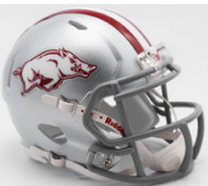 Arkansas Razorbacks 2017 Silver with Gray Mask Tribute SPEED Riddell Full Size Replica Helmet