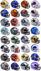 Riddell NFL Chrome Alternate Speed Mini Helmet Complete Set (32)
