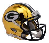 Green Bay Packers Speed Riddell Replica Full Size Helmet - Chrome Alternate