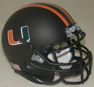 Miami Hurricanes Alternate Matte Black Schutt Mini Authentic Helmet