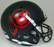 Utah Utes Alternate Black Matte (Red Logo) Schutt Full Size Replica Helmet