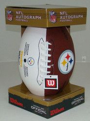 Pittsburgh Steelers Logo White Panel Autograph Full Size Wilson Football