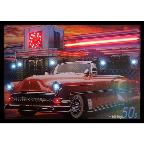 """Nifty 50's"" LED illuminated neon 1950's classic car artwork"