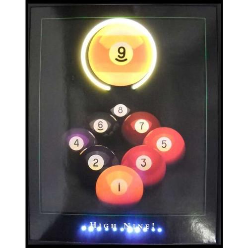 """""""High Nine"""" LED illuminated billiards artwork"""
