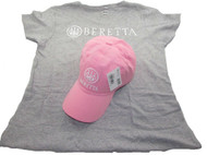 Beretta Women's Roll Up Hat and T-Shirt Combo, Pink, X-Large [Apparel]
