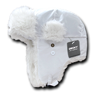 Decky Faux Fur Trooper Aviator Style Winter Hat (White, Small/Medium)
