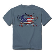 American Flag Blue Claw Crab T-Shirt