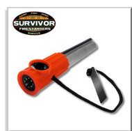 Survivor Fire Starters Magnesium Firesteel Orange, Flint and Steel