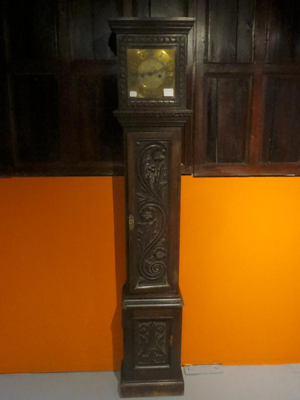 Oak carved long case clock