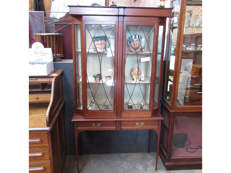 Unrestored mahogany inlaid two drawer display case