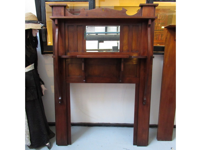 Blackwood unrestored fire surround with beveled mirror