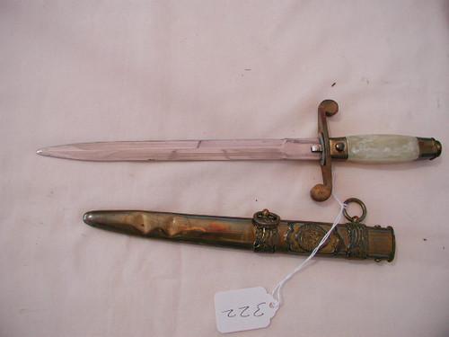 Communist Romainian Army Dagger, original with soft metal scabbard#549