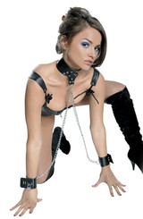 Fetish Fantasy Leather Collar and Cuffs