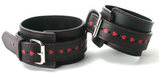 Leather Heart Restraints- Wrists