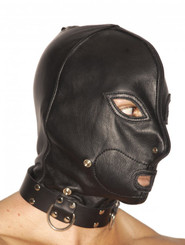Leather Hood with Zipper Mouth