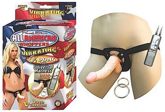 All American 6 1/2 inch Dong Vibrator W/ Strap-On Harness Flesh