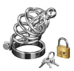 Asylum 4 Ring Locking Male Chastity Cock Cage