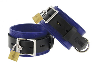 Strict Leather Blue and Black Deluxe Locking Ankle Cuffs