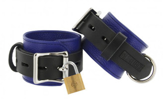 Strict Leather Blue and Black Deluxe Locking Wrist Cuffs