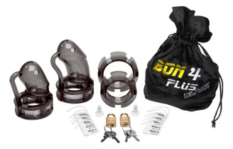 Bon4Plus Silicone 3.4 inch Cock Cage Chastity Kit - Black