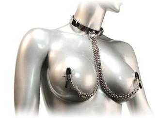 Chrome Slave Collar with Nipple Clamps - Small/Medium