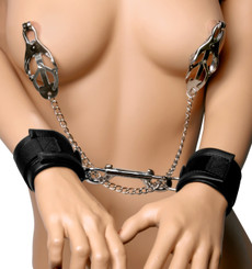Cuff to Nipple Clamps Bondage Kit