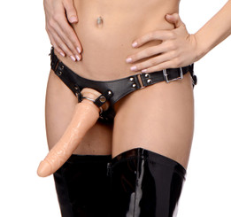 Dominance Leather Lesbian Strap-On Harness - Adult Sex Toys