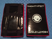 Mightyfist small kickshield with reversible handle design and graphics.