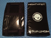 Mightyfist large kickshield with reversible handle design and graphics.