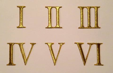 Roman numeral patches for belts with iron on backing.