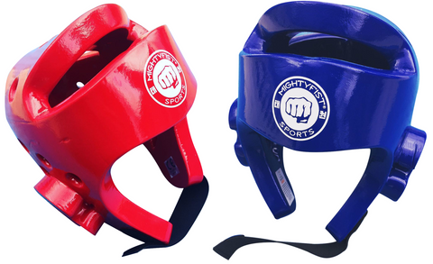 Mightyfist dipped foam headguards - available in red and blue and sizes XS to XL