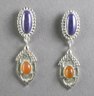 Sugulite and Peach Moonstone Sterling Silver Earrings