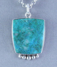 Spiderweb Chrysocolla and Malachite and Sterling Silver Pendant