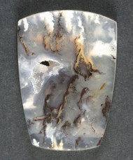 Unique Graveyard Point Plume Agate Cabochon w Marcasite  #11105