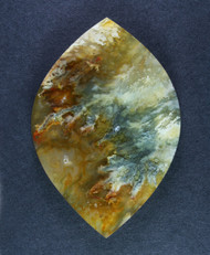 Unique Graveyard Point Plume Agate Cabochon w Marcasite  #15451