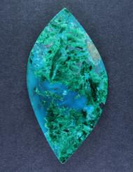 Deep Blue Gem Chrysocolla Chatoyant Malachite Cabochon  #15630