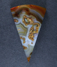 Gorgeous Laguna Agate Plume Cabochon- Orange and Blue   #15787