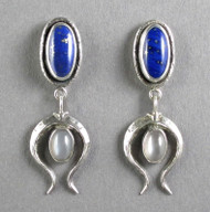 Lapis Lazuli and Grey Moonstone Sterling Silver Earrings