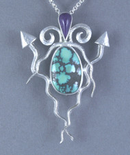 Variscite and Sugulite Sterling Silver Pendant/Pin